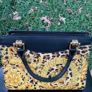 Auth Versace leopard print handbag tote